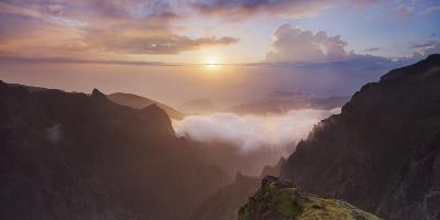 Sunrise at Miradouro Ninho Da Manta, Arieiro, Madeira, Portugal-Rainer Mirau-Photographic Print
