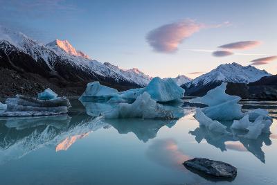 Sunrise at Tasman Glacier River-Yi Jiang Photography-Photographic Print