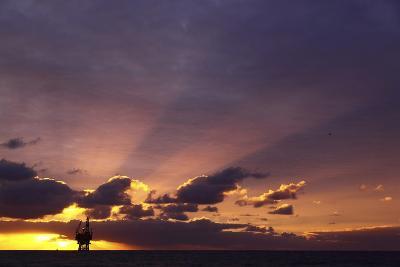 Sunrise At The Eider Platform, 60 Miles Northeast Of Shetland, North Sea-Philip Stephen-Photographic Print