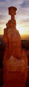Sunrise Behind a Cliff, Thor's Hammer, Bryce Canyon National Park, Utah, USA