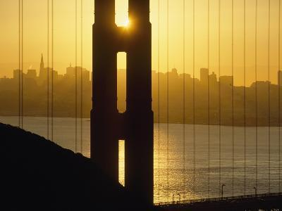 Sunrise Behind the Golden Gate Bridge with Skyline Behind-Design Pics Inc-Photographic Print