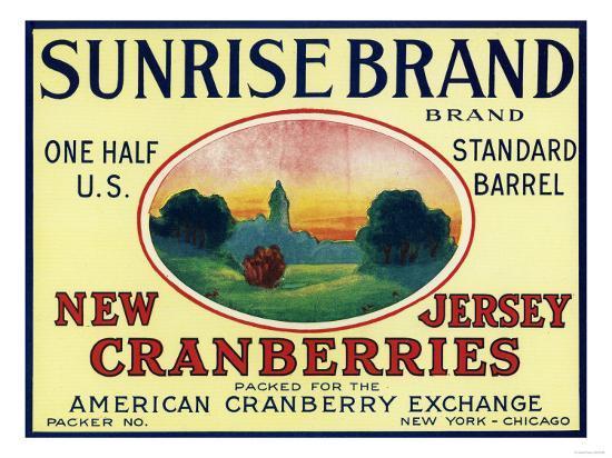 Sunrise Brand Cranberry Label-Lantern Press-Art Print