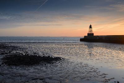 Sunrise, Breakwater Light, Nordmole, Wilhelmshaven, Lower Saxony, Germany-Axel Ellerhorst-Photographic Print