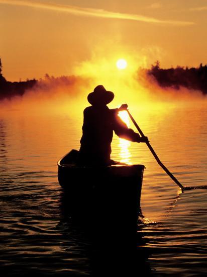 Sunrise Canoeing, Boundary Waters Canoe Area, MN-Amy And Chuck Wiley/wales-Photographic Print