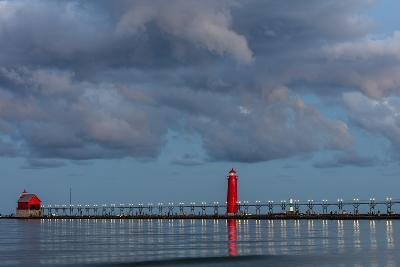 Sunrise Clouds over Lake Michigan and the Grand Haven Lighthouse in Grand Haven, Michigan, Usa-Chuck Haney-Photographic Print
