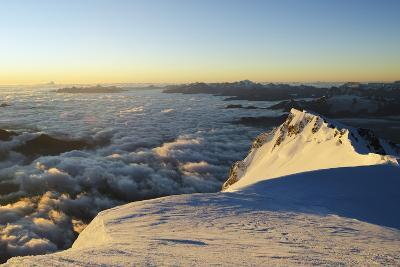 Sunrise from Summit of Mont Blanc, 4810M, Haute-Savoie, French Alps, France, Europe-Christian Kober-Photographic Print