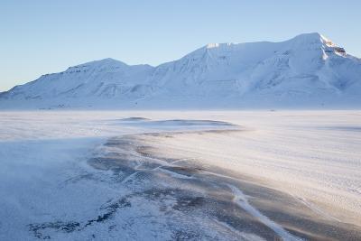 Sunrise, Hiorthfjellet Mountain and Adventtoppen Mountain across Adventdalen, Spitsbergen-Stephen Studd-Photographic Print