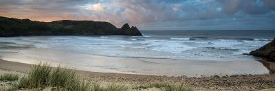 Sunrise Landscape Panorama Three Cliffs Bay in Wales with Dramatic Sky-Veneratio-Photographic Print