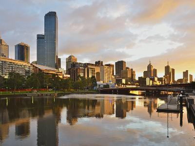 Sunrise, Melbourne Central Business District (Cbd) and Yarra River, Melbourne, Victoria, Australia-Jochen Schlenker-Photographic Print