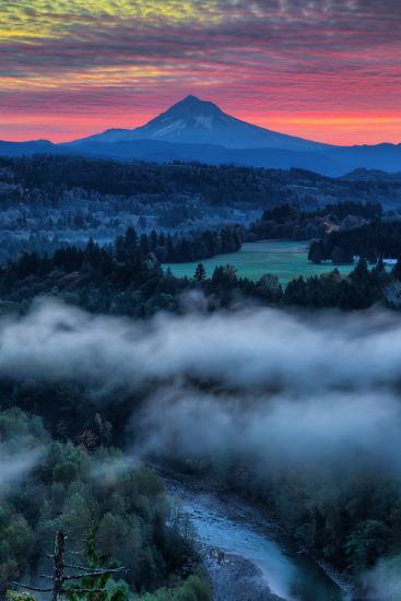 Sunrise Mood and Fire at Mount Hood, Sandy, Oregon, Portland-Vincent James-Photographic Print