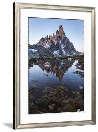 Sunrise of Mount Paterno reflected in a puddle, Natural Park Three Peaks,Sesto Pusteria,Bolzano dis-Filippo Manaigo-Framed Photographic Print