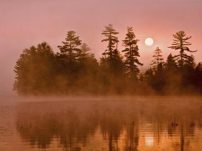 Sunrise on a Lake, Adirondack Park, New York, USA-Jay O'brien-Photographic Print