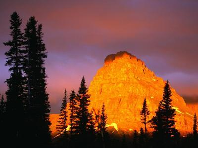 Sunrise on Sinopah Mountain at Two Medicine Lake - Glacier National Park, Montana, USA-John Elk III-Photographic Print