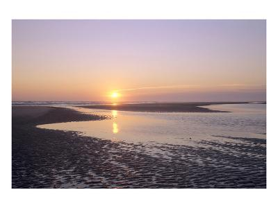 Sunrise on the beach, Langeoog, East Frisian Islands, Lower Saxony, Germany--Art Print