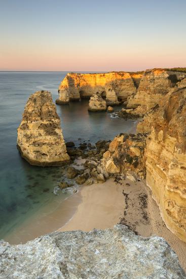 Sunrise on the Cliffs and Turquoise Water of the Ocean, Praia Da Marinha, Caramujeira-Roberto Moiola-Photographic Print