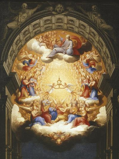 Sunrise on the New Testament, the Eucharist in a Monstrance Carried by Two Angels-Italian School-Giclee Print