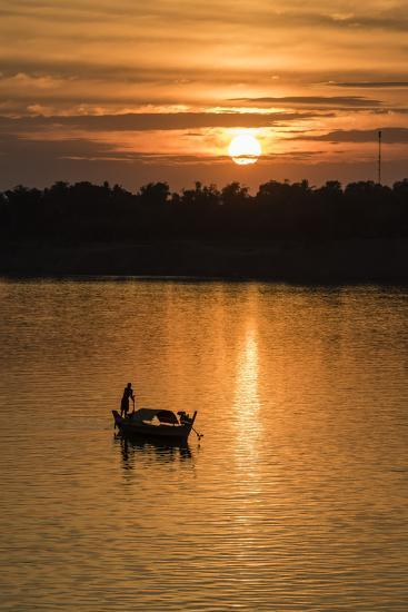 Sunrise on the Tonle Sap River Near the Village of Kampong Tralach, Cambodia, Indochina-Michael Nolan-Photographic Print