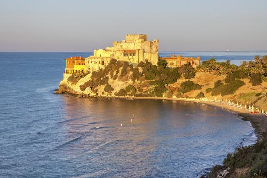 Sunrise on turquoise sea frames the medieval Falconara Castle, Butera, Province of Caltanissetta, S-Roberto Moiola-Photographic Print