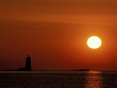 Sunrise on Whaleback Light and the Mouth of Piscataqua River, Fort Foster, Maine, USA-Jerry & Marcy Monkman-Photographic Print