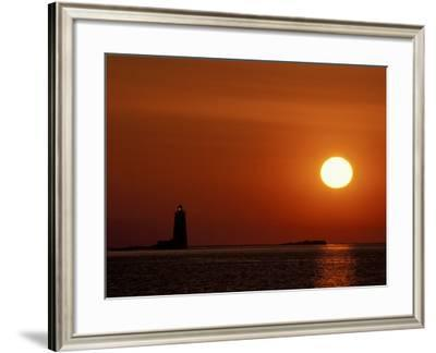 Sunrise on Whaleback Light and the Mouth of Piscataqua River, Fort Foster, Maine, USA-Jerry & Marcy Monkman-Framed Photographic Print