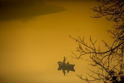 Sunrise over a Boat on the Taj Mahal Lake, Agra, Uttar Pradesh, India, Asia-Laura Grier-Photographic Print