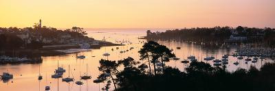 Sunrise over a Town at River Odet Estuary, Benodet, Finistere, Brittany, France--Photographic Print