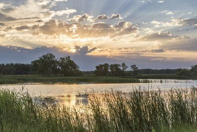 Sunrise over Backwater of the Milk River Near Glasgow, Montana, USA-Chuck Haney-Photographic Print