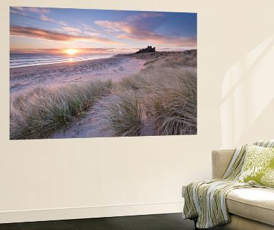 Sunrise over Bamburgh Beach and Castle from the Sand Dunes, Northumberland, England. Spring (March)-Adam Burton-Wall Mural