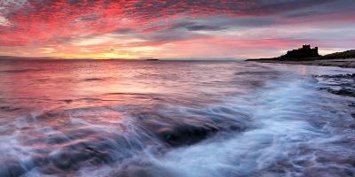 Sunrise over Bamburgh Castle on the Northumberland Coast-Robert Garrigus-Photographic Print