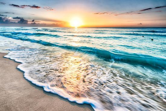 Sunrise over Beach in Cancun-rebelml-Photographic Print