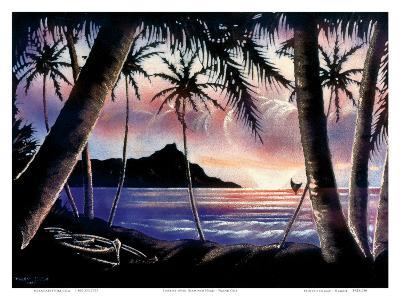 Sunrise Over Diamond Head, Hawaii c.1940s-Hale Pua Studio-Art Print