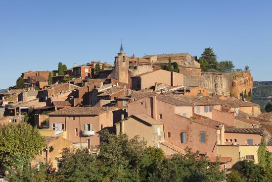 Sunrise over Hilltop Village of Roussillon, Southern France-Markus Lange-Photographic Print