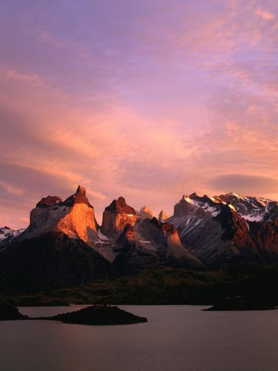 Sunrise Over Lago Pehoe and Cuernos Del Paine, Torres Del Paine National Park, Chile-Brent Winebrenner-Photographic Print