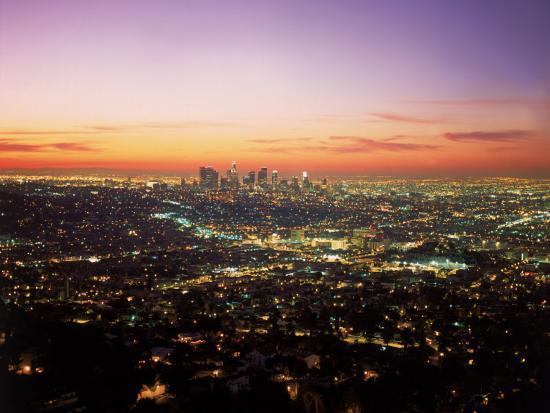 Sunrise Over Los Angeles Cityscape, CA-Jim Corwin-Photographic Print