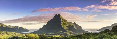 Sunrise over Mt Rotui, Opunohu Bay and Cook's Bay, Moorea, French Polynesia-Matteo Colombo-Photographic Print