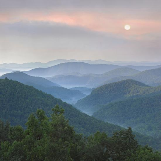 Sunrise over Pisgah National Forest from Blue Ridge Parkway, North Carolina, Usa-Tim Fitzharris-Photographic Print