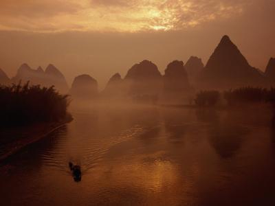 Sunrise Over River Li, Yangshuo, Guangxi, China-Diana Mayfield-Photographic Print
