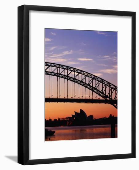 Sunrise Over Sydney Harbour Bridge and Sydney Opera House, Sydney, Australia-Richard I'Anson-Framed Photographic Print