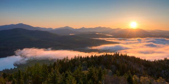 Sunrise over the Adirondack High Peaks from Goodnow Mountain, Adirondack Park, New York State, USA--Photographic Print