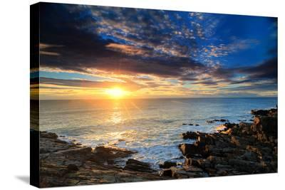Sunrise over the Atlantic Ocean Off the Rocky Coast of Maine-Robbie George-Stretched Canvas Print