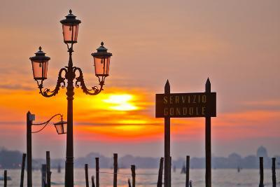 Sunrise over the Gondola Station at Saint Mark's Square in Venice-Mike Theiss-Photographic Print