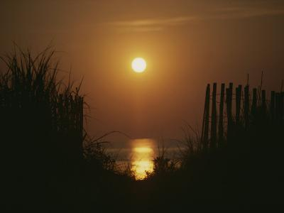 Sunrise over the Ocean Silhouettes Dunes and Erosion Fences-Stephen St^ John-Photographic Print