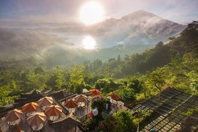 Sunrise over the Valley with Villages and Lake Situated in Caldera of Old Giant Volcano. Bali, Indo-Ko Backpacko-Photographic Print