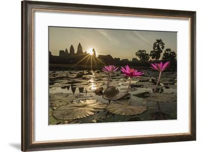Sunrise over the West Entrance to Angkor Wat, Angkor, Siem Reap, Cambodia-Michael Nolan-Framed Photographic Print