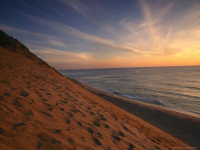 Sunrise Paints the Sky Orange over the Shoreline of Coastguard Beach-Michael Melford-Photographic Print