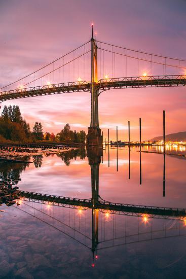 Sunrise Reflection at St. John's Bridge, Portland, Oregon PDX-Vincent James-Photographic Print