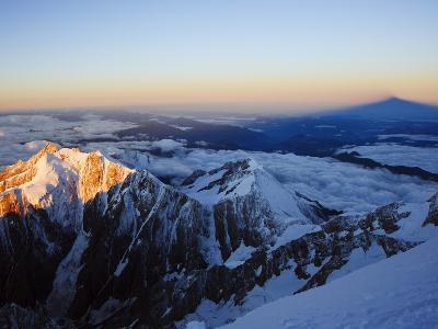 Sunrise, Shadow of Mont Blanc, Mont Blanc Range, Chamonix, French Alps, France, Europe-Christian Kober-Photographic Print