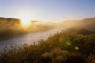 Sunrise Through Fog on the Loup River in the Nebraska Sandhills-Michael Forsberg-Photographic Print