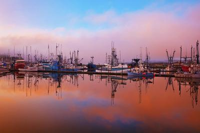 Sunrise Through the Morning Fog and Fishing Boats-Design Pics Inc-Photographic Print
