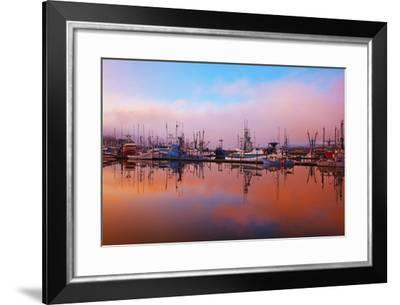 Sunrise Through the Morning Fog and Fishing Boats-Design Pics Inc-Framed Photographic Print